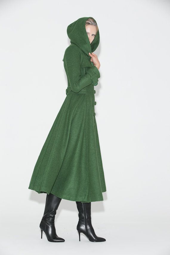 Green Womens Coat  Long Fitted Hooded Single-Breasted by YL1dress