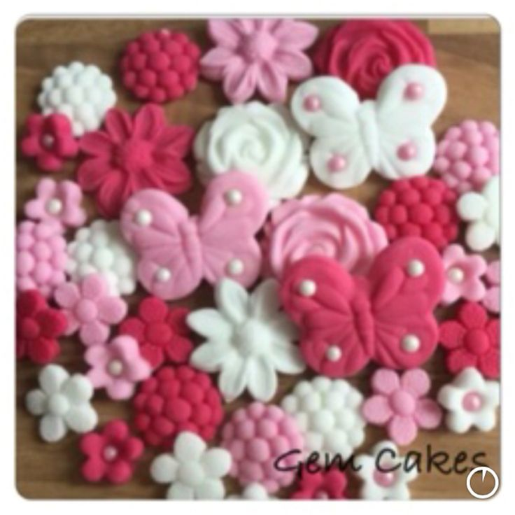 Edible baby Shower christening Pink and White Flowers and Butterflies cupcake toppers decorations for Girls