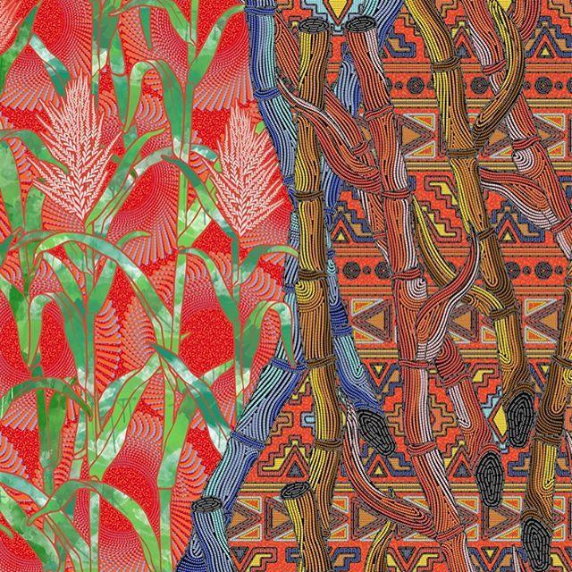 Cana-de-açúcar, a base da história africana em Pernambuco. Mix de bordado e wax print nessa estampa do verão'16/17a da Rush Praia. #surfacedesign #textiledesign