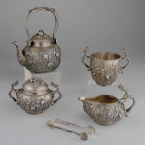 A Fine Five-Piece Japanese Export Silver Tea Service, Meiji Period, Circa 1890-1910