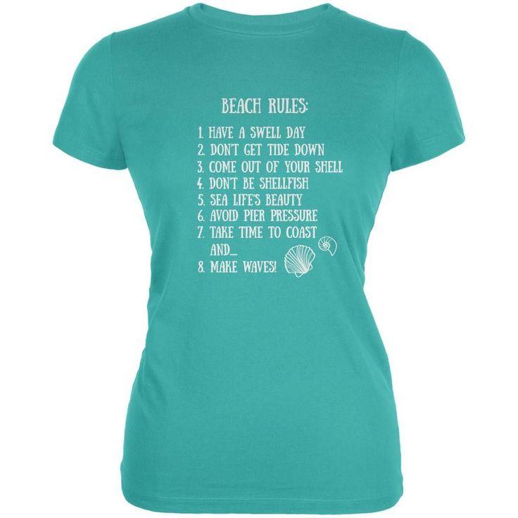 Beach Rules Teal Juniors Soft T-Shirt