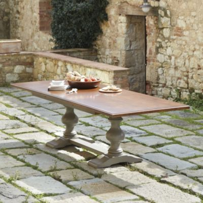 """Tarvine Double Pedestal Table with Walnut Top 78"""" +29"""" leaf+ 107""""/BD"""
