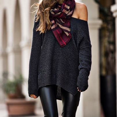 long sweater +faux leather jeggings