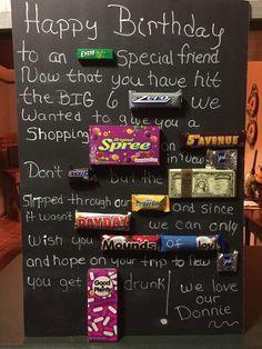 60 th birthday candy card board. Use black foam board, buy candy ...