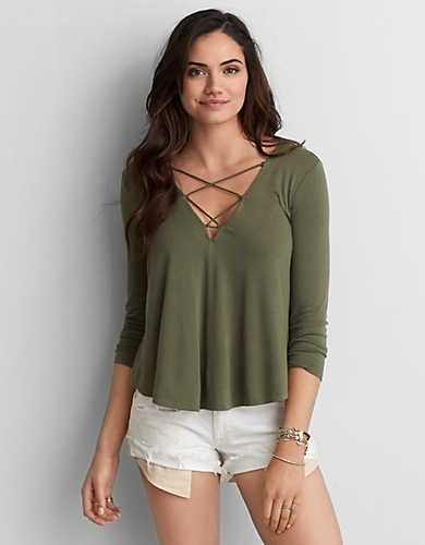 AEO Soft & Sexy Swing T-Shirt - Olive