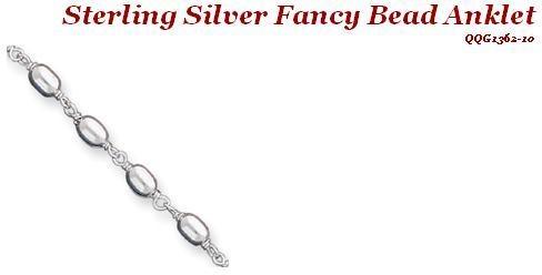 Sterling Silver Fancy Bead Anklet