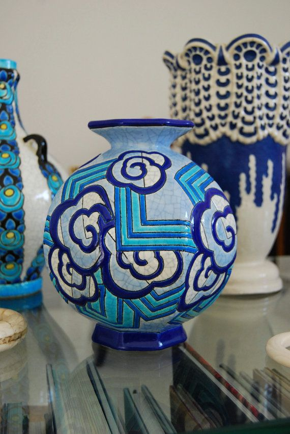 Very Rare French Art Deco Longwy Blue & White Octagonal Enamelled Vase. Signed. Mint Condition. on Etsy, $836.54