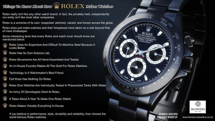 Rolex really isn't like any other watch brand. In fact the privately held, independently run entity isn't like most other companies. Visit our online store http://www.blowers-jewellers.co.uk