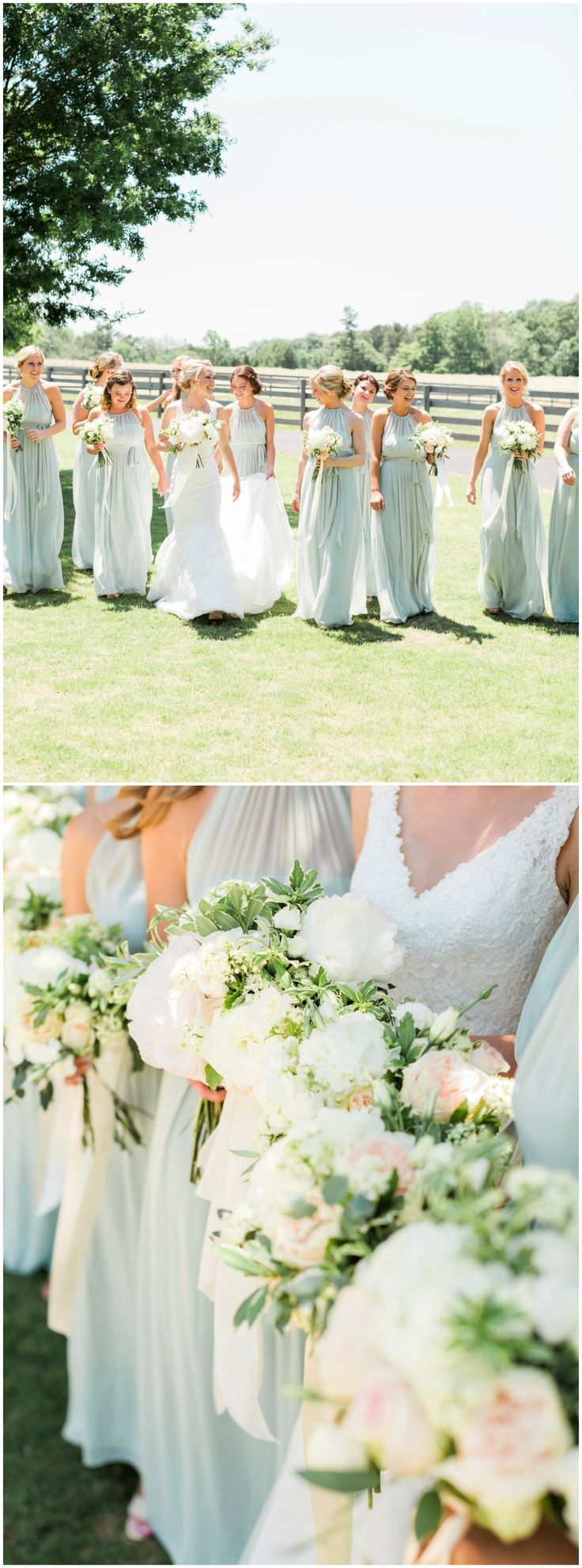 Matching long bridesmaid dresses, seafoam green bridal party, large white bouquets, springtime style // Rustic White Photography