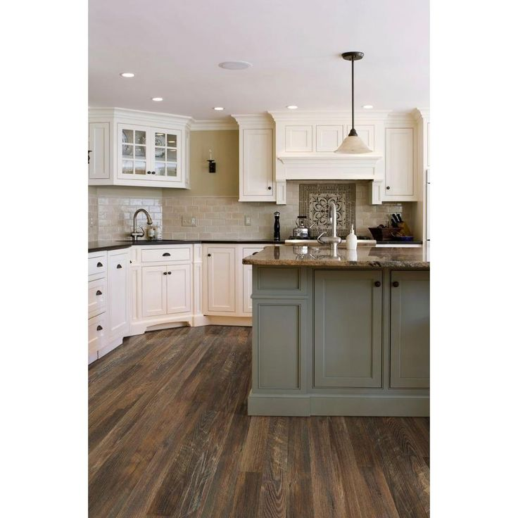 Hampton bay country oak dusk 12 mm thick x 6 3 16 in wide for Traditional kitchen cabinet colors