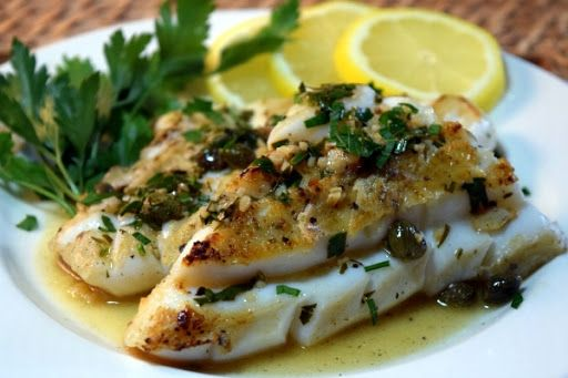 Weeknight Calamari Steaks Piccata Style With Steak, Olive Oil, Flour, Butter, Clove, Lemon, White Wine, Capers, Fresh Parsley