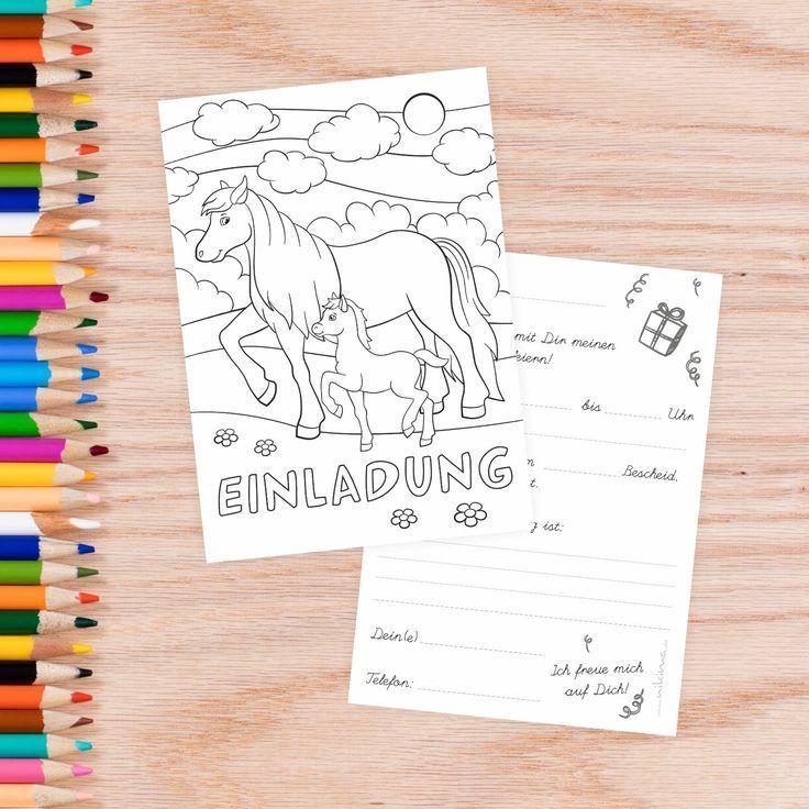 5 einladungskarten zum ausmalen von pferdepony inkl. 5