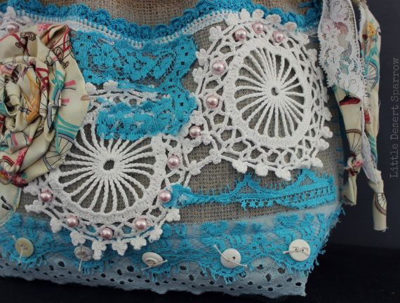 Shabby vintage lace and doily burlap purse