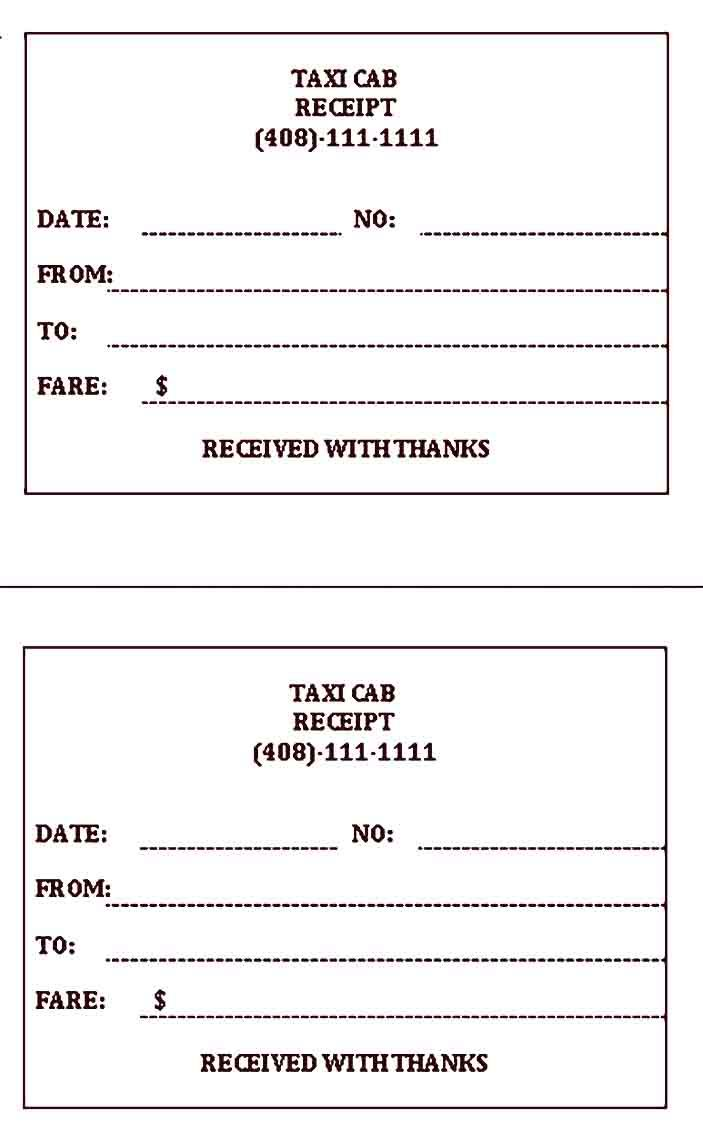 Taxi Receipt Template Sample Receipt Template Templates Word Template