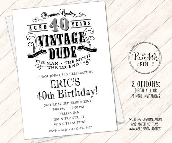 Vintage Dude Birthday Invitation Through The Ages Invite Etsy Photo Birthday Invitations Milestone Birthday Invitations Birthday Invitations