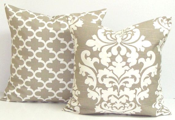 Taupe PILLOWS Neutral Pillow Cover Decorative by ElemenOPillows