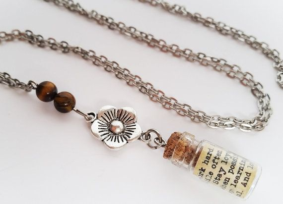 Bottle Necklace with quote. Tigers eye long necklace. by totesBOHO