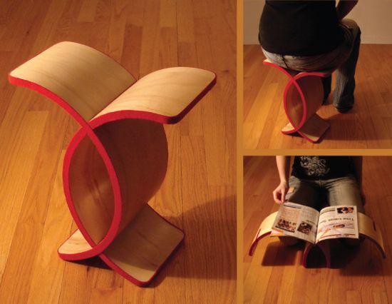 Multi-purpose Unity StoolUnity Stools, Wood Furniture, Multifunctional Wood, Small Spaces, Folding Furniture, Products Design, Furniture Ideas, Furniture Concept, Olivia Blechschmidt