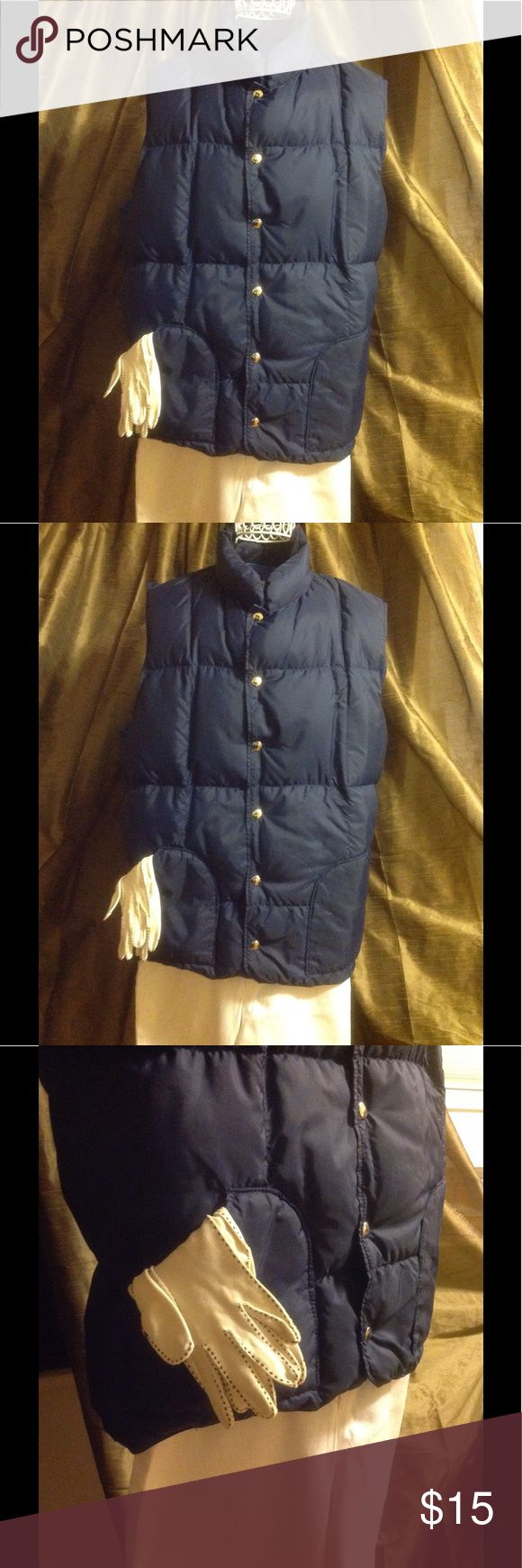 """Sierra Designs Puffy Down Vest Packable Blue LARGE Sierra Designs Down Vest Color: Navy Blue Size: Women's Large Measurement: Shoulder to Shoulder: 16"""" Neck to Hem 30""""  This is a really well taken care of Sierra Designs Down Vest. The closures are snaps, and all are working perfectly. There is no Down rating tag on the vest. It was given to me by a friend, but it's too big for me.  The gloves are vintage white gloves and are in another listing of mine. The pants are new with tags Gloria…"""