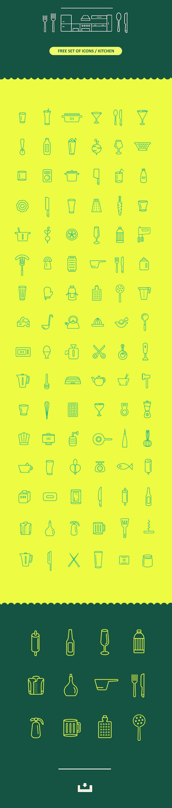 100 FREE ICONS / KITCHEN on Behance