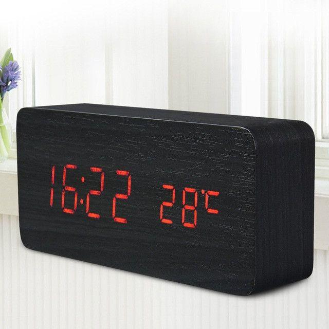 Top SaleQuality Digital LED Alarm Clock Sound Control Wooden Despertador Desktop Clock USB/AAA Powered Temperature Display Hours