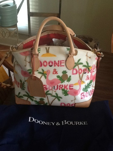 af49bccb14 Dooney and Bourke Pink Flamingo Satchel plus Dust Bag