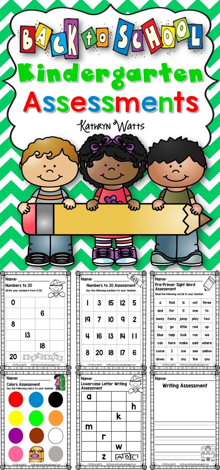 Kindergarten Back to School Assessments