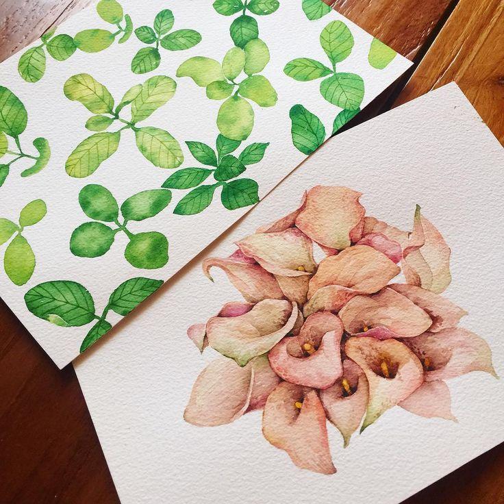 :) 2016.5.25.수  투샷 #꽃 #스케치 #스케치북 #일러스트 #꽃그림 #일러 #꽃스타그램 #손그림 #수채화 #풀 #꽃말 #수제카드 #초록초록 #그림 #엽서 #수제엽서 #카라 #카드 #sketch #sketchbook #flower #illust #illustration #art #drawing #color #watercolor #card  #leaf #green