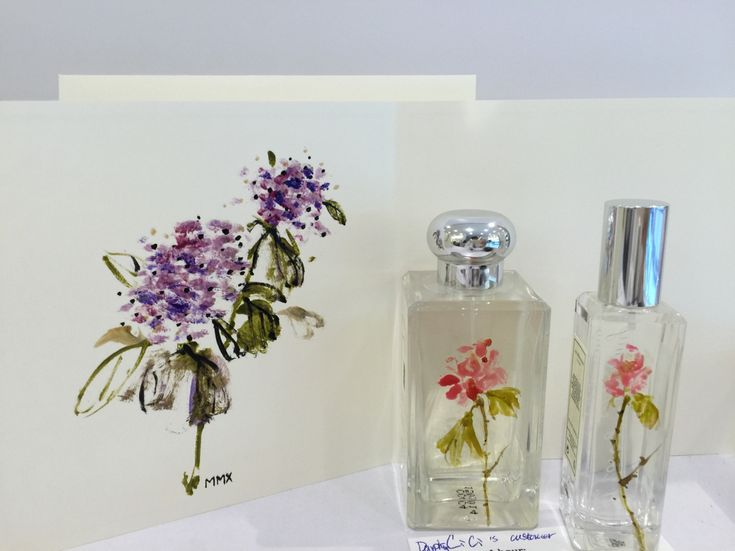 A hand-painted card for Mothers' Day, along with painted Jo Malone's bottles