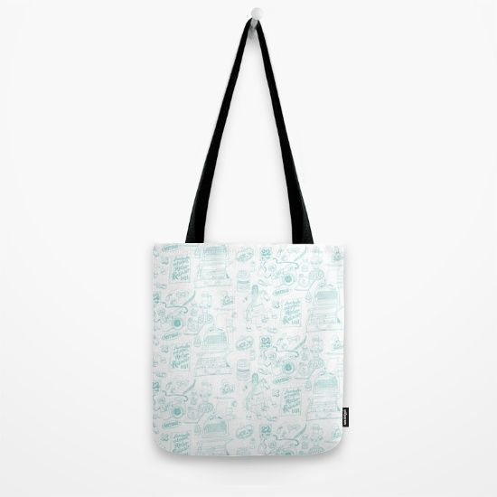 Tote Bag, Antique Pattern in Pen and Ink Drawing.