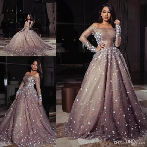 3D Floral Pearls Prom Formal Muslim Dresses 2017 Elie Saab Dubai Arabic Brown Lace Long Sleeve Bateau neck Evening Dresses Wear