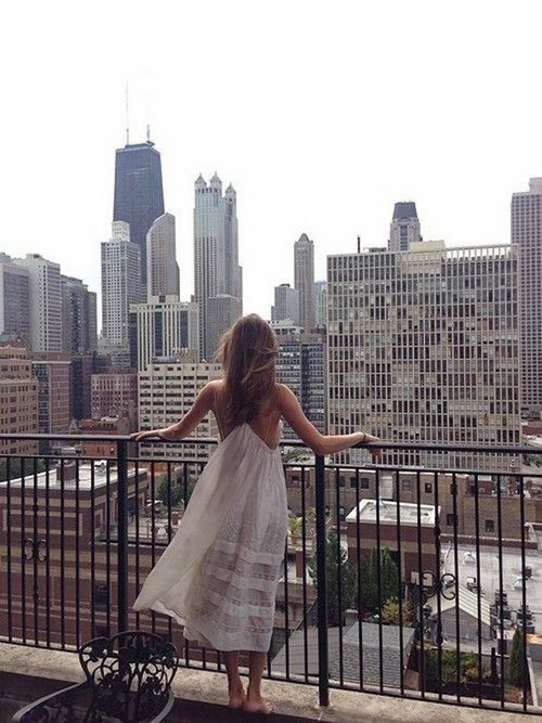 white dress in the city