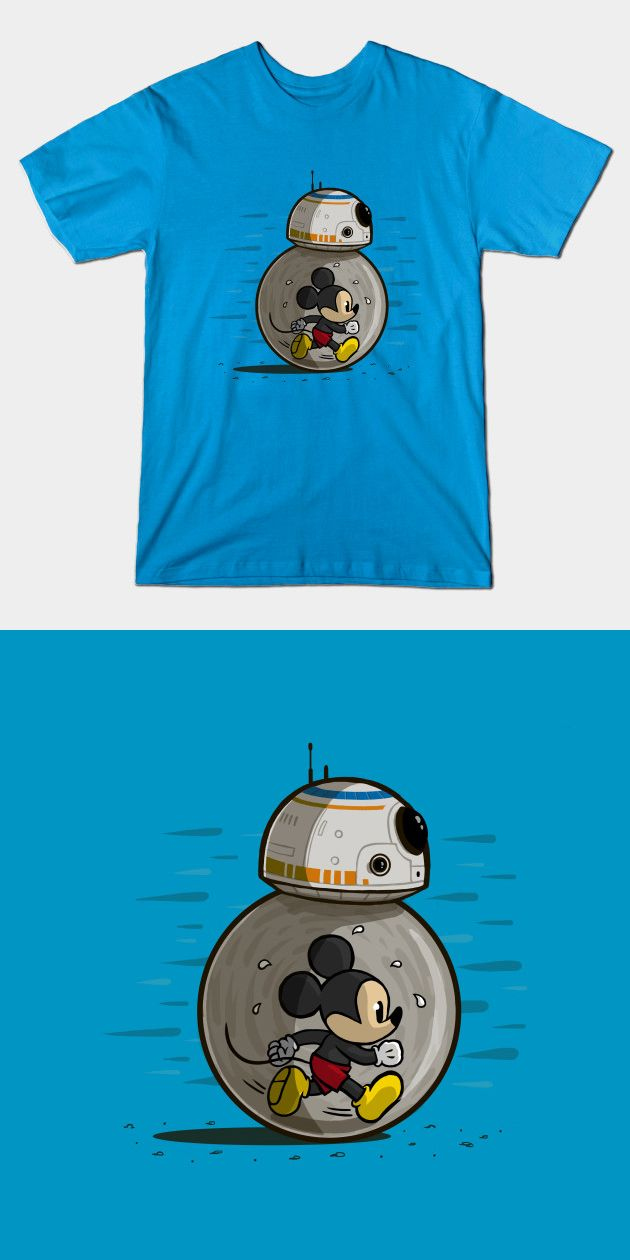 Mickey Mouse BB-8 T Shirt | Disney's cartoon mouse controls this Star Wars droid, like a hamster in a ball. | Funny Star Wars Tee Shirt | Visit http://shirtminion.com/2016/02/mickey-mouse-bb-8-t-shirt/