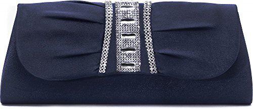 Clutch, Umhängetasche, Unterarmtasche aus Satin mit Raffung und hochwertige Straßstein Aplikation mit abnehmbarere Kette (120 cm), Farbe:Dunkelblau (Navy)