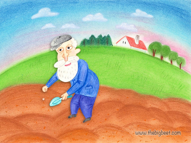 (1/14) Once upon a time there was a little house and in that house lived a grandma and grandpa with their little granddaughter. One day grandpa decided to plant beets. So he went into the field and planted a beet seed.