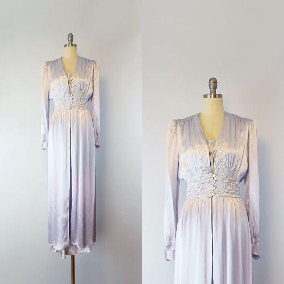 vintage 40s peignoir set / 1940s silk satin robe slip set / lilac ...