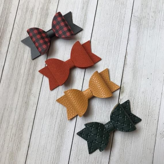 Red Faux Leather Hair Bow for Toddlers Christmas Hair Bow for Babies