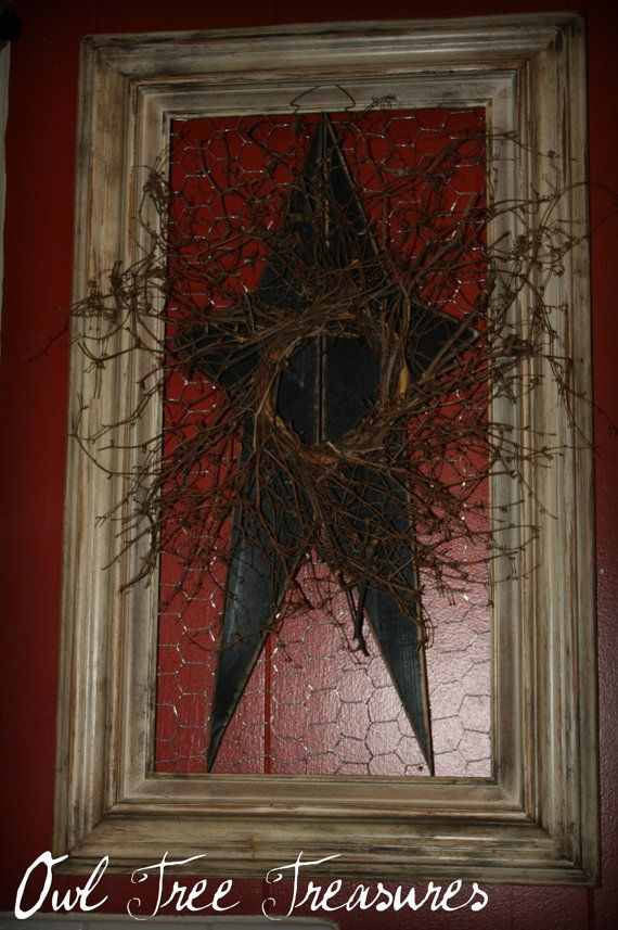 Primitive Framed Star Wall Decor by OwlTreeTreasures on Etsy