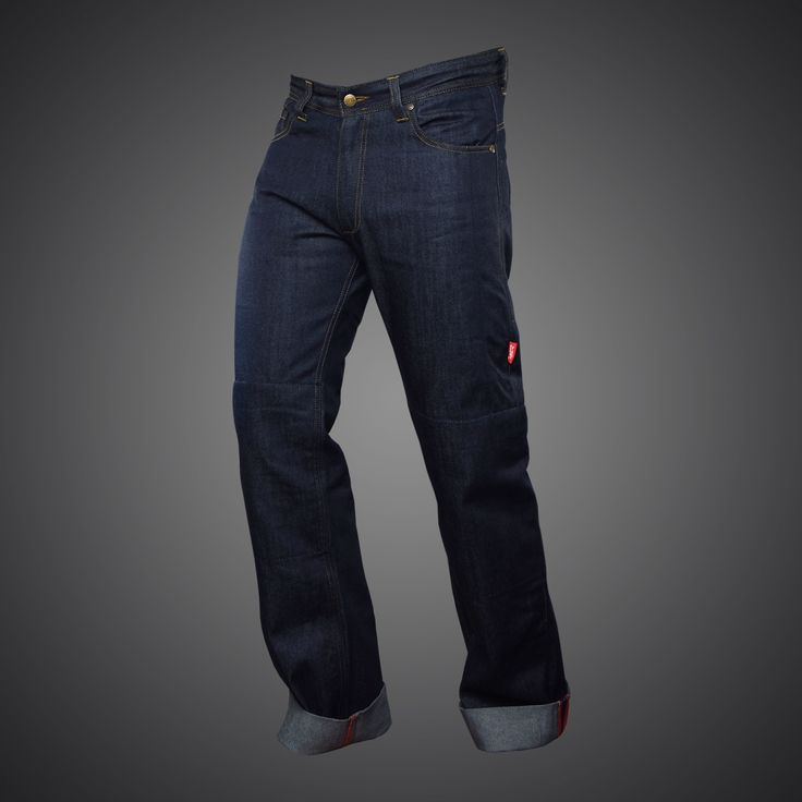 First 4SR biker jeans for Cafe Racers! Perfect cut, color and stylish cuff with red stitching, gives these biker jeans extraordinary style.