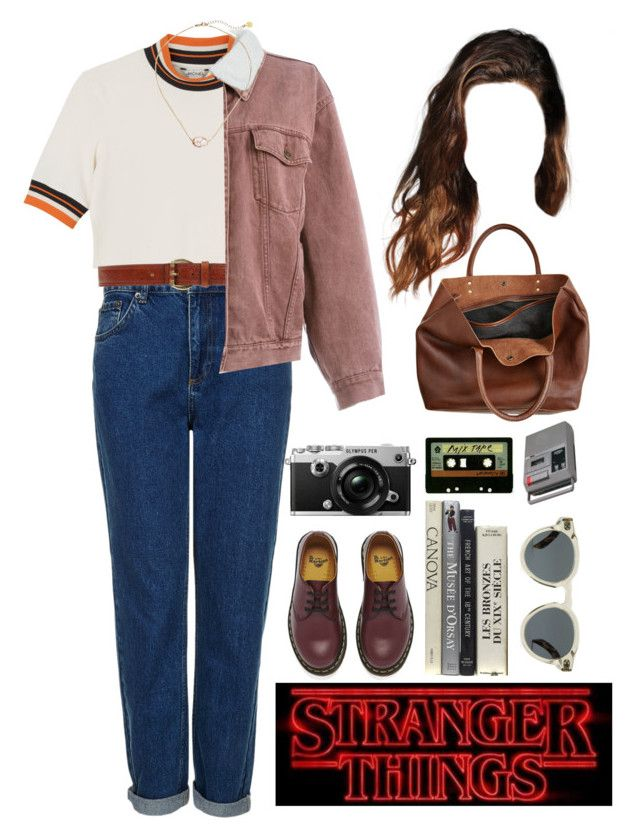 """""""nancy wheeler"""" by melancholiah ❤ liked on Polyvore featuring Monki, Topshop, C'N'C, Moschino, Dr. Martens, Illesteva, INDIE HAIR, CASSETTE, Olympus and Monserat De Lucca"""