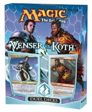 Magic the Gathering: MTG Duel Decks: VENSER VS KOTH (Two 60 Card Decks) by Wizards of the Coast. $24.30. Cards are Tournament Legal.. Magic the Gathering: MTG Duel Decks: VENSER VS KOTH (Two 60 Card Decks). Contains: 2 exclusive black-bordered 60-card theme decks in one box. NOTE:  This product can ONLY be shipped the United States, Puerto Rico, APO/FPOs and USVI.. Includes 6 cards with new art including 2 alternate art Mythic rares.. Two Planeswalkers, one compas...