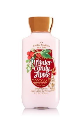 Winter Candy Apple - Body Lotion - Signature Collection - Bath & Body Works - America's #1 Body Lotion! Infused with Shea Butter and our exclusive Daily Moisture Complex, our enhanced lotion contains more of what skin loves, leaving it feeling incredibly soft, smooth and nourished. Fortified with nutrient-rich ingredients like protective Vitamin E and conditioning Vitamin B5, our fast-absorbing, non-greasy formula delivers 16 hours of continuous moisture.