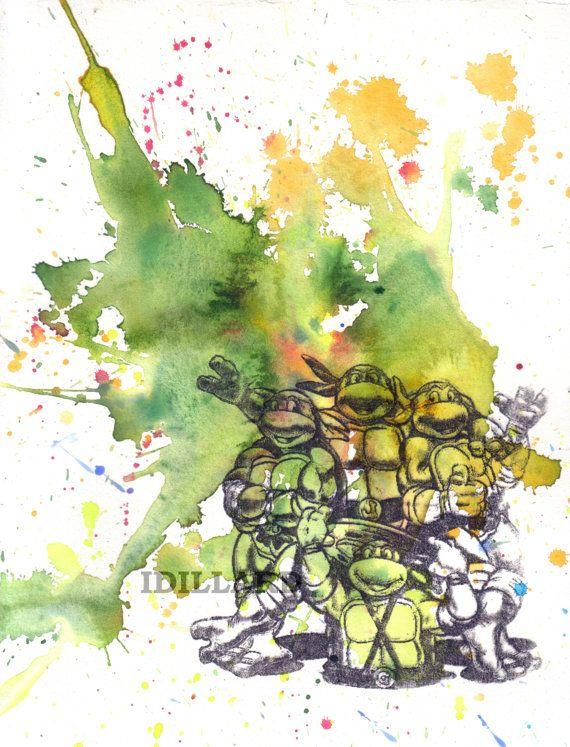 Teenage Mutant Ninja Turtles Art Print From Original Watercolor Painting - 8 x10 in Art Print Buy 2 and receive a Third Print Free
