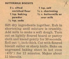 Retro Recipes 1950S | Vintage Buttermilk Biscuits Recipe – Clipping | RecipeCurio.com