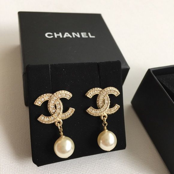 Authentic Chanel Cc Stud Earrings Gl Pearl And Crystal Logo Worn Once Copy Of Original Receipt Available Purchased At In 2018
