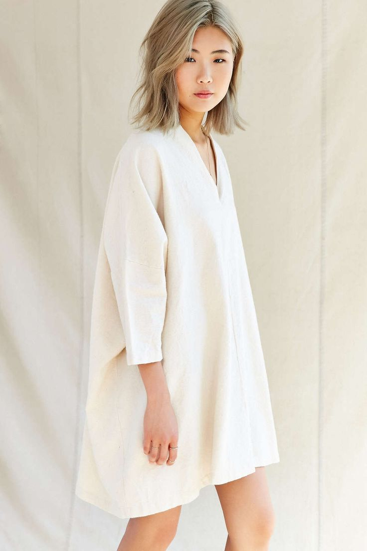 Urban Renewal Remade V-Neck Flannel Sack Dress - Urban Outfitters