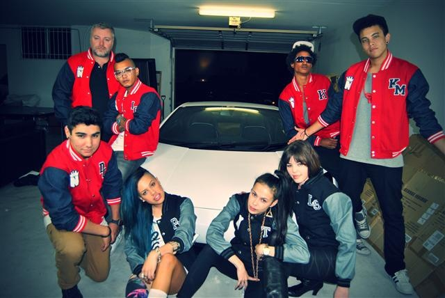 Nufirm Crew & Kyle Sandilands wearing Exodus Custom Baseball Jackets. Car pictured is Kyle Sandilands Lamborghini
