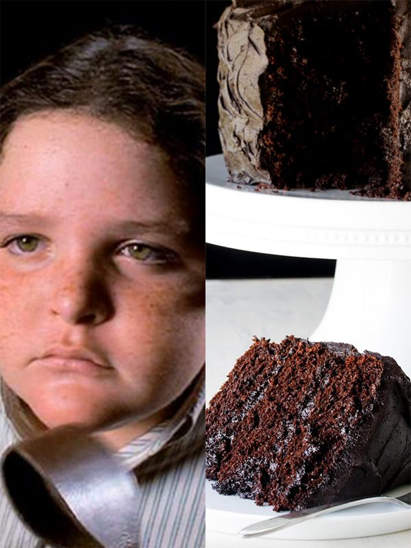 Matilda. The dish: Chocolate cake. The film: The devilish cake that The Trunchbull demands Bruce Bogtrotter to finish in one sitting. You will need: Milk, chocolate, flour, almonds, cocoa powder, baking powder, unsalted butter, sugar, vanilla, eggs.