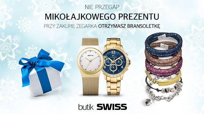 Odwiedź butik SWISS w dniach 1-6 grudnia a przy zakupie zegarka otrzymasz Mikołajkowy prezent.