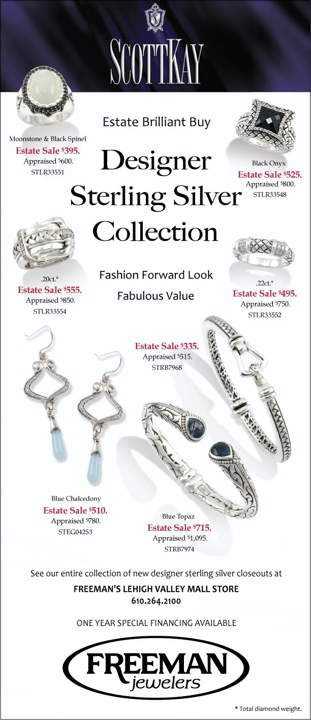 8 best freemans estate sale jewelry images on pinterest diamond see the entire collection of closeout designer sterling silver in freemans lehigh valley mall store estate solutioingenieria Choice Image